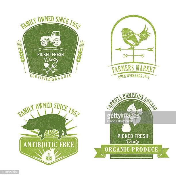 illustrations, cliparts, dessins animés et icônes de ferme et l'agriculture ou label badge - girouette