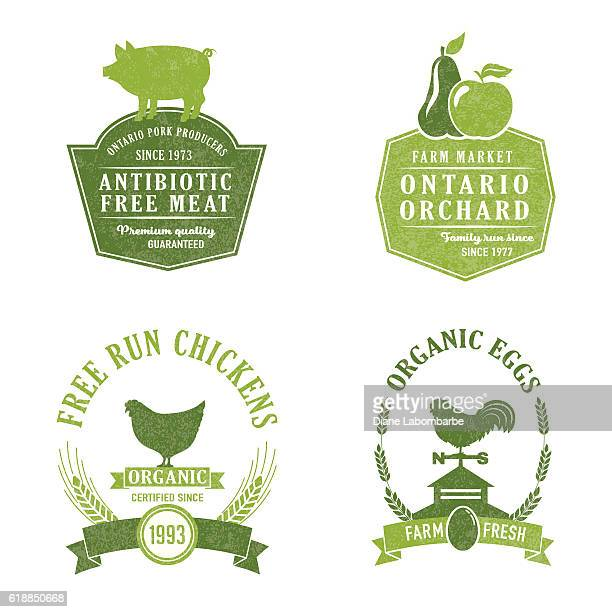farm and agriculture badge or label - animal egg stock illustrations, clip art, cartoons, & icons