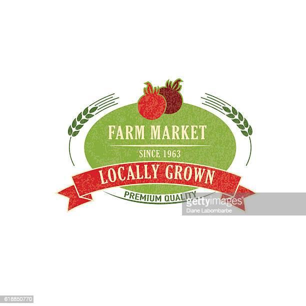 ilustrações, clipart, desenhos animados e ícones de explorações e a agricultura emblema ou label - produto local