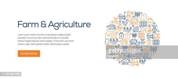 Farm and Agriculture Banner Template with Line Icons. Modern vector illustration for Advertisement, Header, Website.