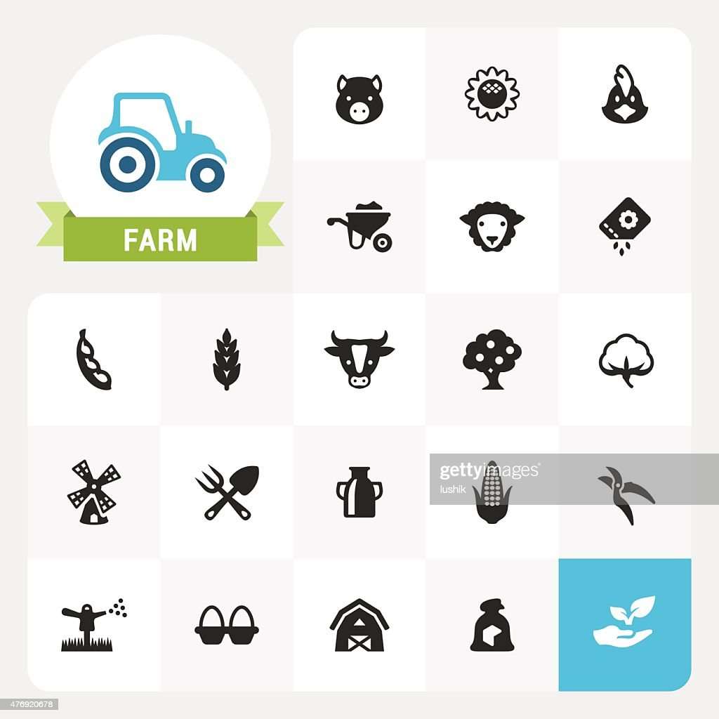 Farm and Agriculture base vector icons and label