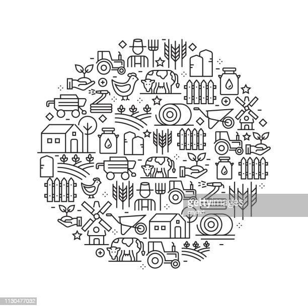 Farm and Agriculture Concept - Black and White Line Icons, Arranged in Circle