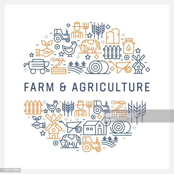 Farm and Agriculture Concept - Colorful Line Icons, Arranged in Circle