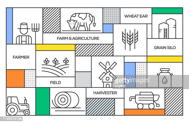 farm and agriculture concept. geometric retro style banner and poster concept with farm and agriculture line icons - tennessee stock illustrations