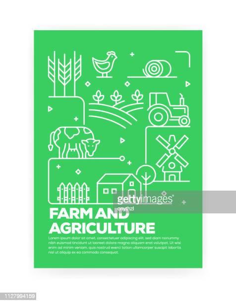 illustrations, cliparts, dessins animés et icônes de ferme et agriculture concept ligne style couvrent design annual rapport, flyer, brochure. - vache