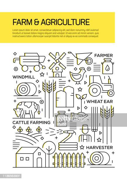 illustrations, cliparts, dessins animés et icônes de ferme et agriculture concept line style cover design pour rapport annuel, flyer, brochure. - ruche