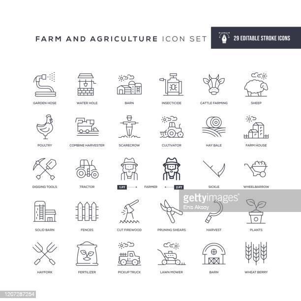 bildbanksillustrationer, clip art samt tecknat material och ikoner med ikoner för farm- och jordbruksrediga linjer - jordbruk