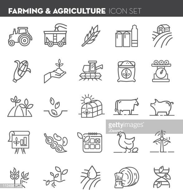 farm and agriculture flat simple outline line art design icon set - vertical stock illustrations