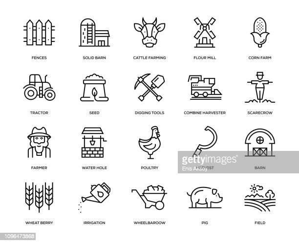 farm and agriculture icon set - human settlement stock illustrations