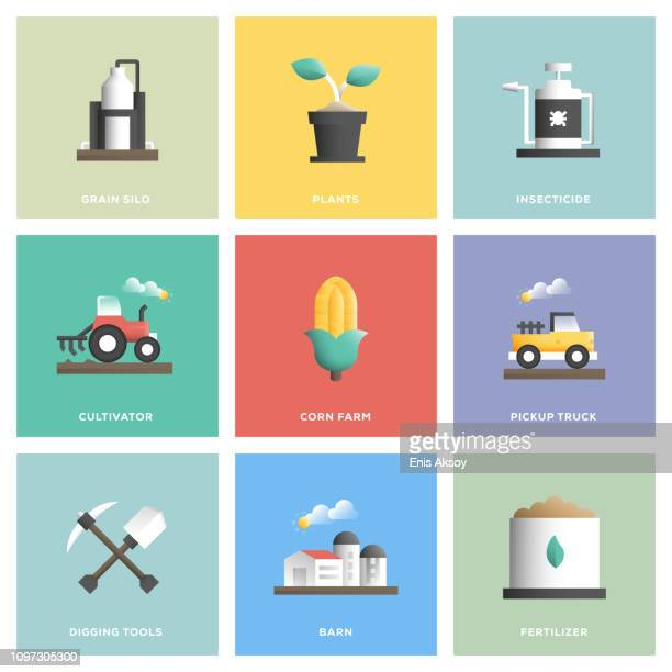 farm and agriculture icon set - harrow agricultural equipment stock illustrations, clip art, cartoons, & icons