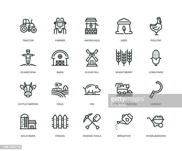 farm and agriculture icons - line series - farm stock illustrations