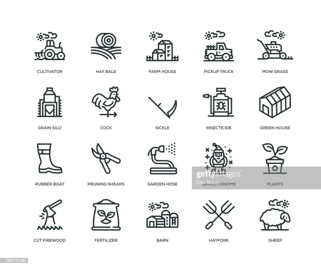 Farm and Agriculture Icons - Line Series : stock illustration