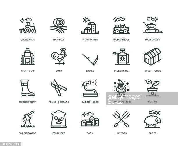 farm and agriculture icons - line series - tractor stock illustrations