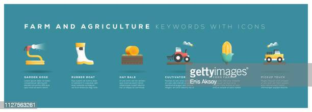 farm and agriculture keywords with icons - irrigation equipment stock illustrations