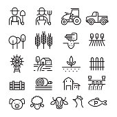 Farm and Agriculture Line Icons Set