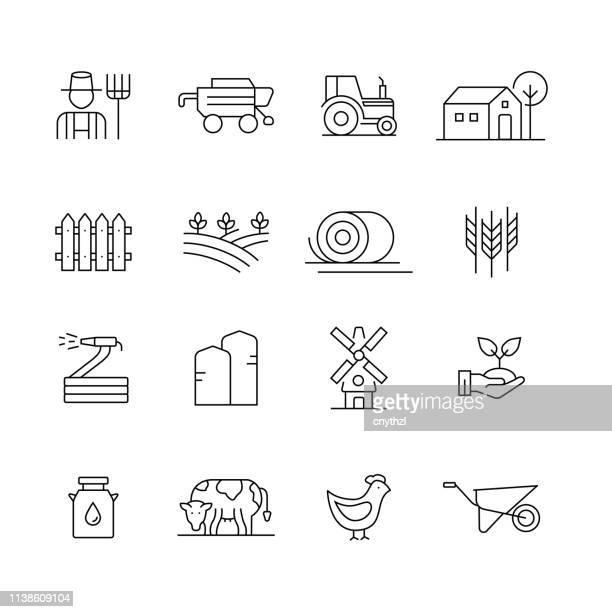 illustrazioni stock, clip art, cartoni animati e icone di tendenza di fattoria e agricoltura - set di icone vettoriali a linea sottile - agricoltura
