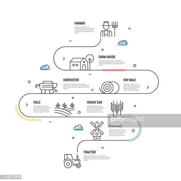 ilustrações de stock, clip art, desenhos animados e ícones de farm and agriculture vector concept and infographic design elements in linear style - agricultura