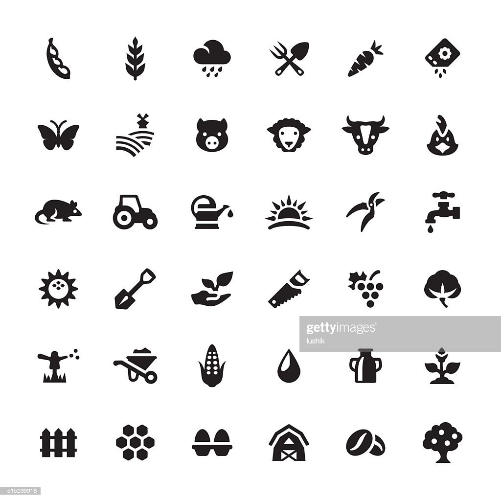 Farm and Agriculture vector symbols and icons : stock illustration