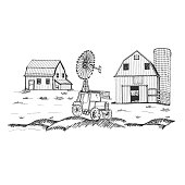 Farm and barn with tractor and windmill, hand drawn vector illustration