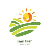 Farm and farming vector label, emblem design. Isolated illustration of fields, farm landscape and sun.