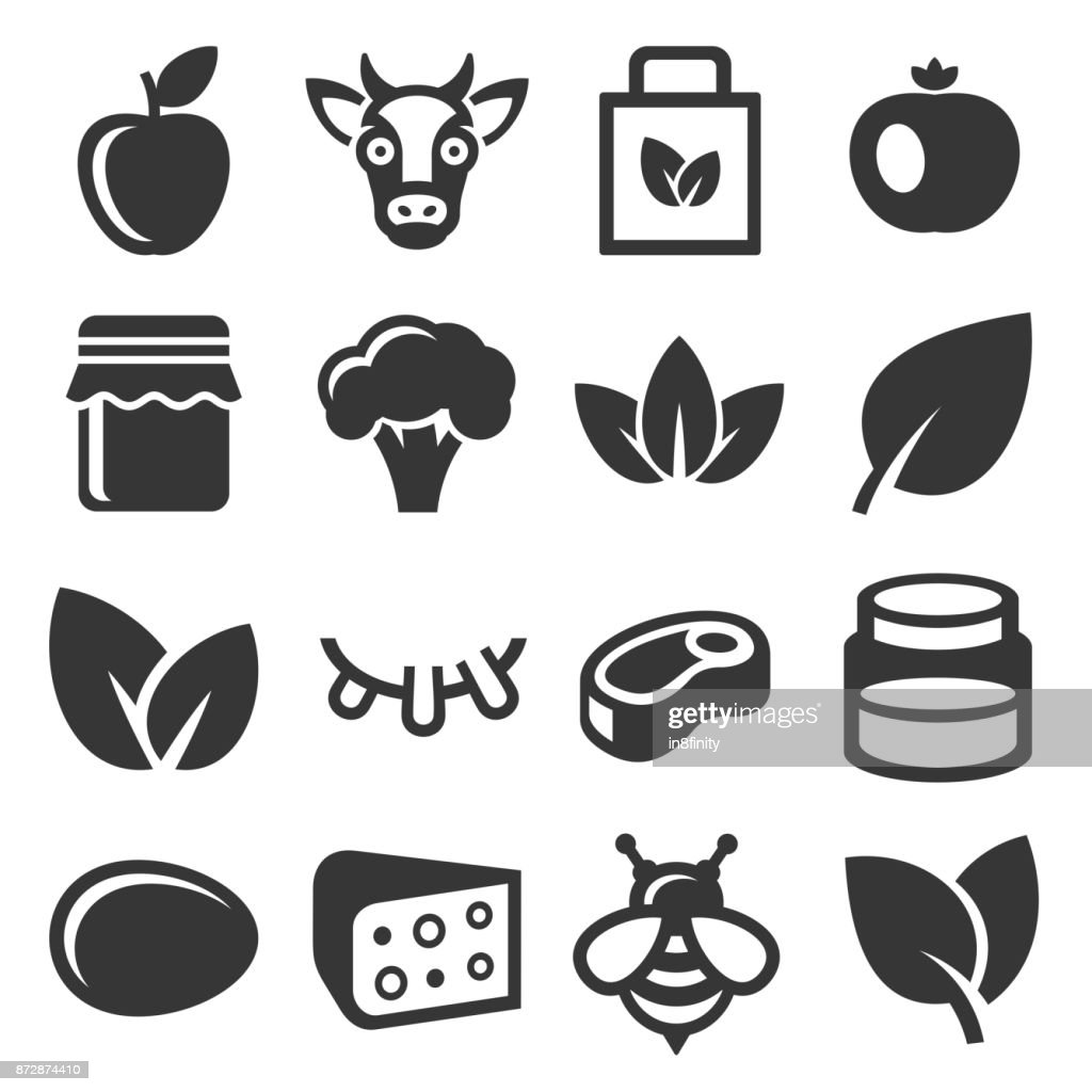 Farm and Organic Food Icons Set. Vector