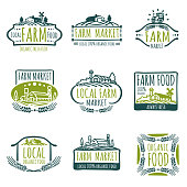 Farm and organic food vector labels. Vintage farmer badges
