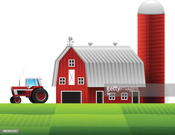 farm and tractor - tractor stock illustrations