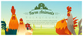 Farm animal and Rural landscape background with chickens , vector , illustration