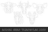 Farm animal head triangular icon set