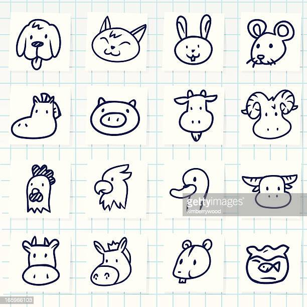 farm animal icon set - golden retriever stock illustrations, clip art, cartoons, & icons