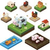 Farm animal isometry color set
