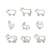 Farm animal outline icon set.