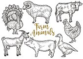 Farm animal set. Fresh organic meat. Cow, goat, pig, turkey, hen, sheep, goose, duck. Hand drawn sketch. Vintage vector engraving illustration for poster, web. Isolated on black background