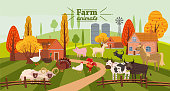 Farm animals and birds set in trendy cute style, including horse, cow, donkey, sheep, goat, pig, rabbit, duck, goose, turkey, rooster,ram, dog, cat, bull and chicken, isolated on rural landscape, farm, autumn. Vector, illustration, cartoon style