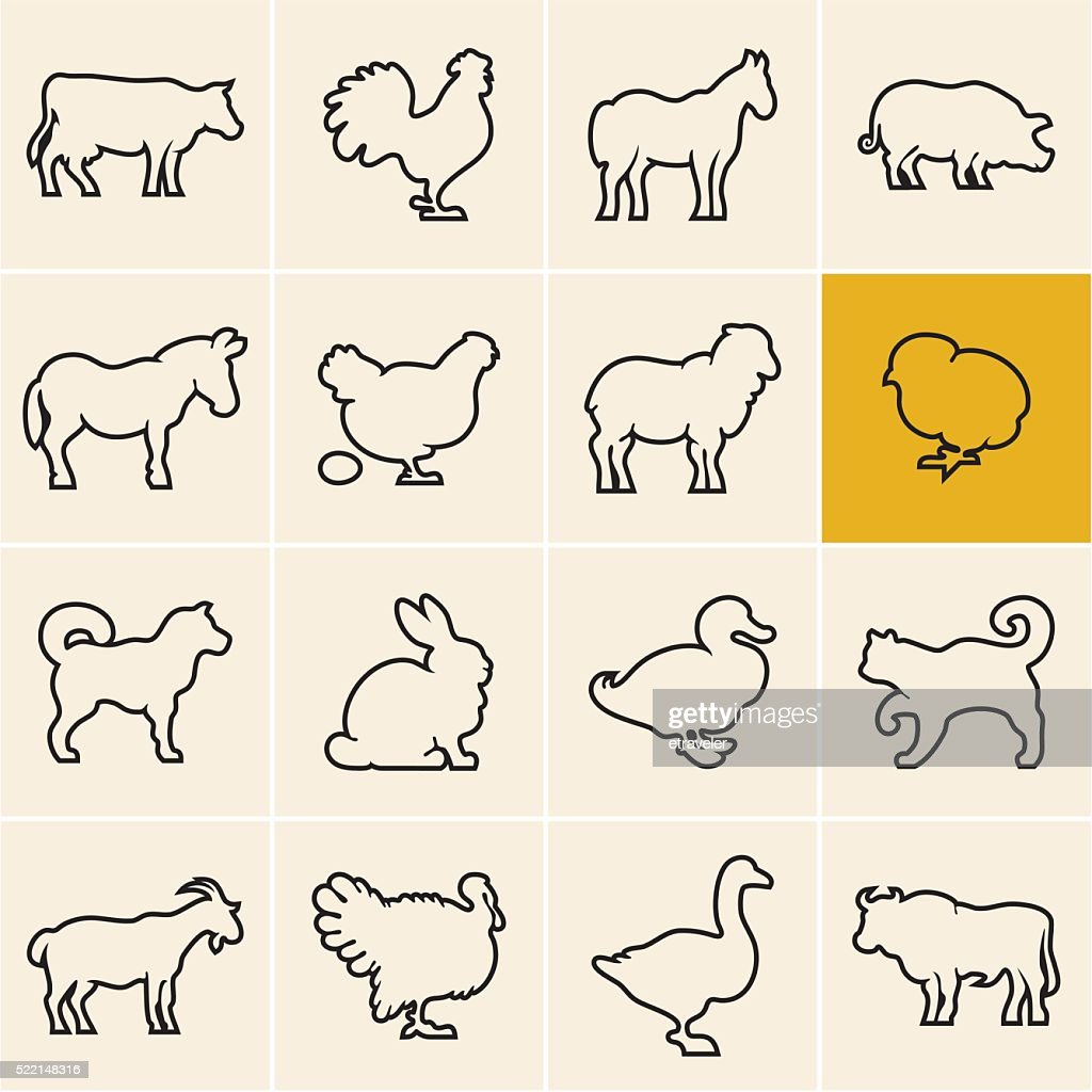Farm animals. Animals icons outline.