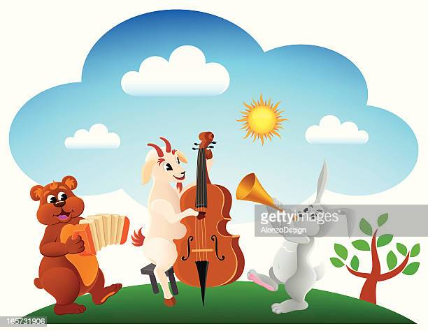 farm animals band - bass instrument stock illustrations, clip art, cartoons, & icons