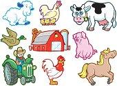 Farm Animals, Barn and Tractor Cartoons