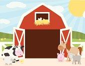 Farm Animals Barn Scene