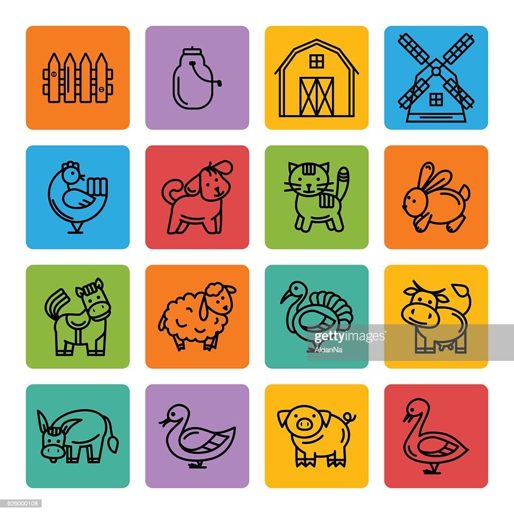 Farm animals black icon set
