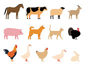 Farm animals black icons set, Livestock, vector illustration