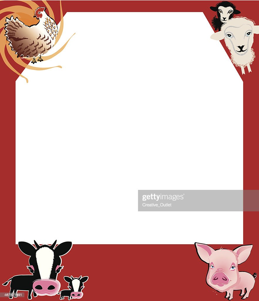 Farm Animals Frame C Vectorkunst   Getty Images