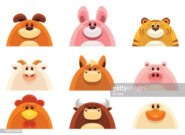 farm animals heads - obesity icon stock illustrations
