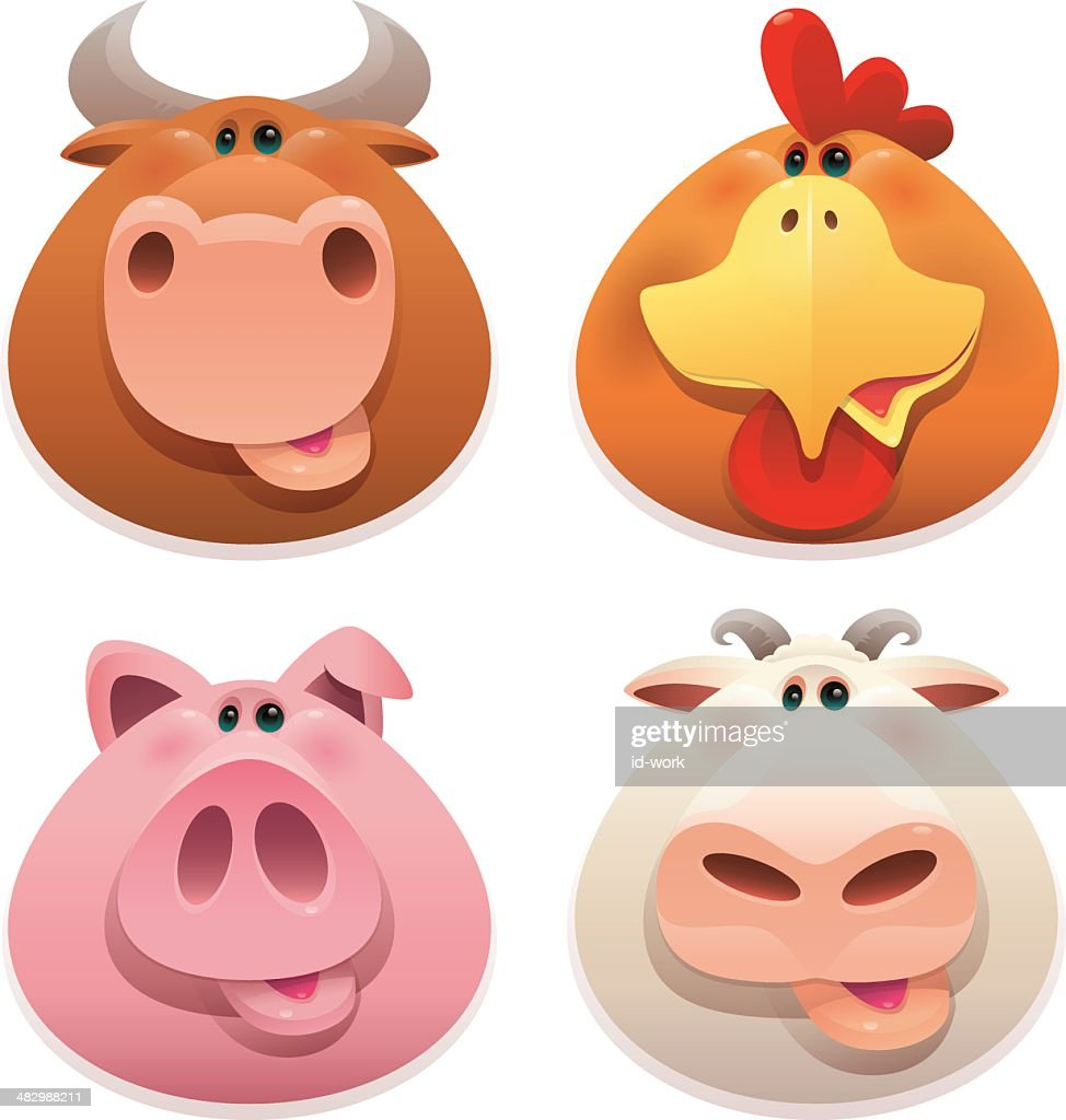 farm animals heads
