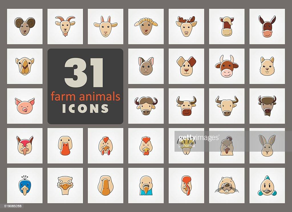 Farm animals icons set. Vector head illustration.