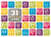Farm animals icons set. Vector head illustration.