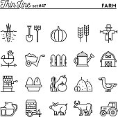 Farm, animals, land, food production and more, thin line icons