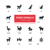 Farm animals - line design silhouette icons set