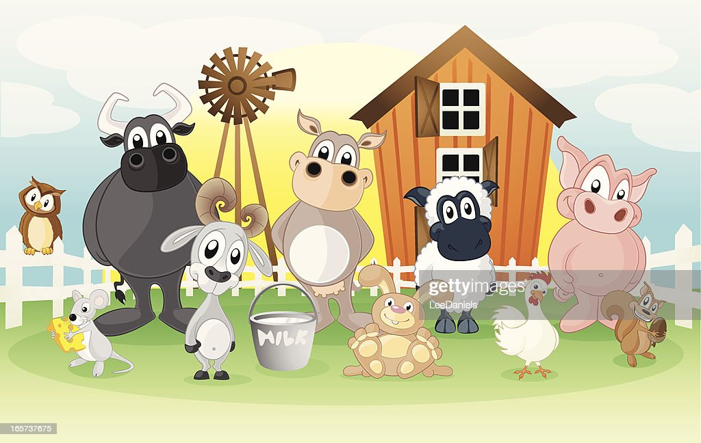 Farm animals on a cartoon background