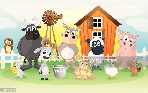 farm animals on a cartoon background - cute mouse stock illustrations