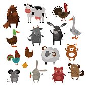 Farm animals pets vector cartoon
